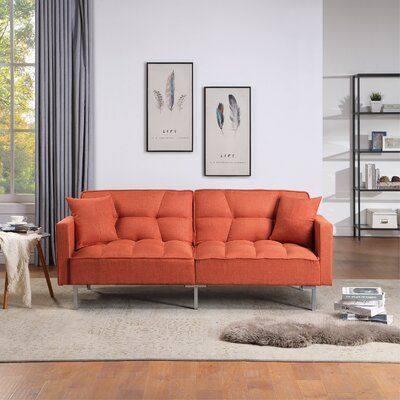 Better Homes & Gardens Porter Fabric Tufted Futon Rust Orange