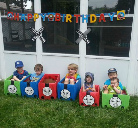 Thomas the Train Birthday Party . Lots of Thomas the train birthday party ideas! Includes train themed food, games, invitations, party bags and decorations Thomas Birthday Parties, Thomas The Train Birthday Party, Trains Birthday Party, Train Party, Birthday Fun, Birthday Party Themes, Birthday Ideas, Pirate Party, Third Birthday
