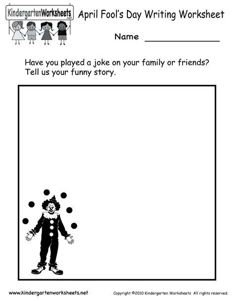 Kindergarten April Fools Day Writing Worksheet Printable