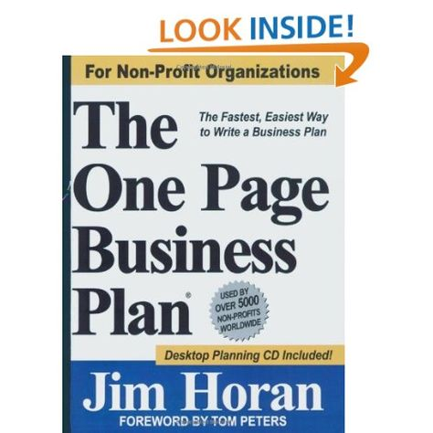 The One Page Business Plan for Non-Profit Organizations The - non profit business plan template