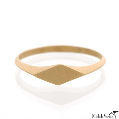Flat Diamond Signet Ring michelevarian