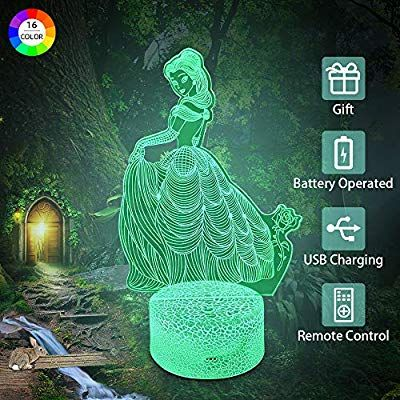 Amazon Com Flow Month Princess Night Light For Girls Birthday Gift 16 Colors Dimmable Nightlight Remote Cont 3d Optical Illusions Night Light Kids Light Girls