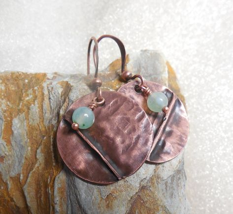 rustic raw copper embossed round pendants Amethyst patina embossed copper circles for earrings 1 Pair Artisan textured copper coins