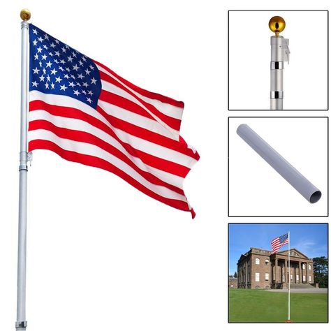 16 Ft Sectional Telescoping Flagpole Kit With An American Flag In 2019 Telescoping Flagpole Flag Pole Kits Outdoor
