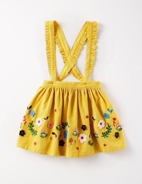 Mini Boden - This cord skirt has a little touch of magic, as its cross-back straps are actually detachable (ta-da). Whichever way you choose to wear it, with felt appliqué and metallic embroidery, you'll feel ready for playtime and parties. Baby Outfits, Summer Outfits, Toddler Outfits, Trendy Outfits, Baby Girl Fashion, Toddler Fashion, Fashion Kids, Fashion Clothes, Fashion Purses