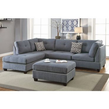 Adnus Black Sectional With Nail Head Trim In 2020 Grey Sectional Sofa Gray Sectional Living Room Living Room Sofa Design