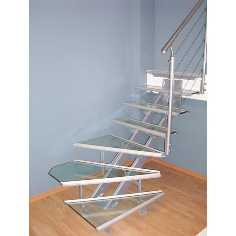 Escalier 1 4 Tournant Bas Reversible Acier Gris Escatwin 14
