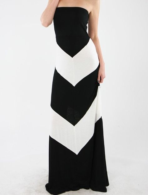 683cf5ccf659 Womens Maxi Dress Chevron Black and White Strapless Long Length Color Block  Size Small, Medium, Large on Etsy, $31.99