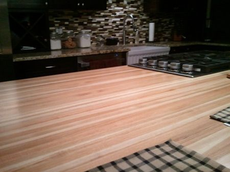 Prefinished Hickory Butcher Block Countertop Add Beauty And