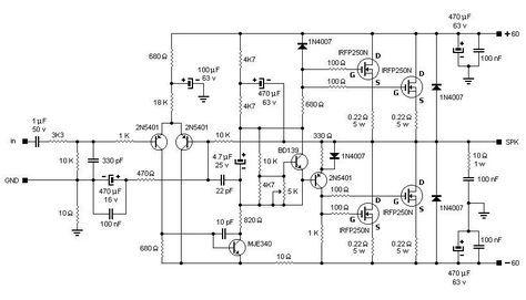 200W MOSFET Amplifier based IRFP250N - Schematic Design