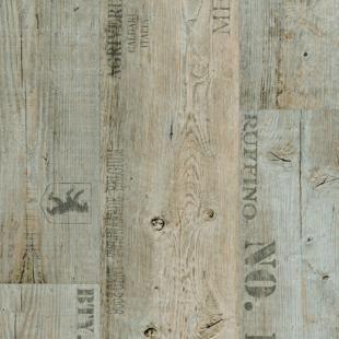 PVC Bodenbelag Holz-Optik Planken mit Schriftzügen 200 cm Breite pro qm = 9,95 €