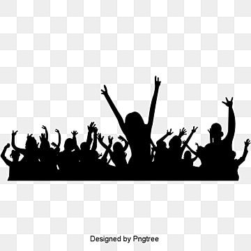 Simple Cheering Crowd Silhouette Elements Black Cheering Crowd Png And Vector With Transparent Background For Free Download Banner Background Images Sillouette Art Dance Silhouette