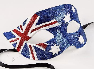 Australian Flag Mask Masquerade Costume Glitter Fancy Dress Ball Unisex Men Wom