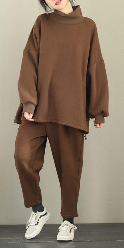 Women Loose Brushed Suit Casual Fleece With Harem Pants Q2102