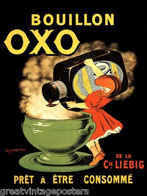 Bouillon oxo broth girl cooking soup food french cappiello vintage poster repro