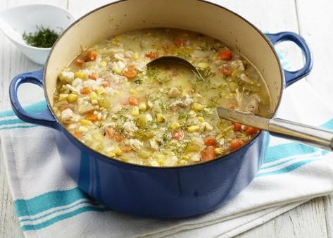 Chicken & Rice Soup - so easy to make and makes enough for dinner then lunch the next day. Great bright flavours, perfect for a gloomy fall evening.