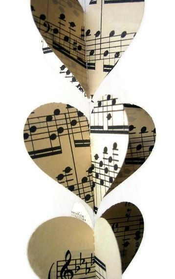 Heart Garland- Vintage Sheet Music- Mini and Sweet Paper Heart Garland Decoration- Ready to Ship.