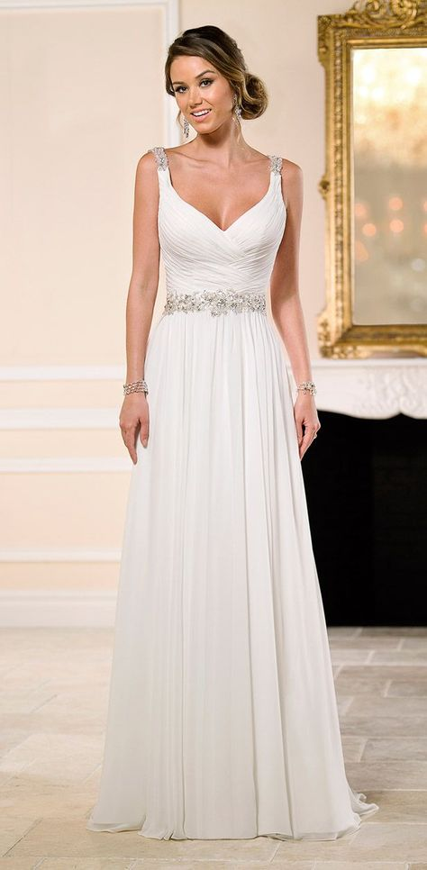 Sweetheart with straps, chiffon natural waist a line, key hole bedazzled back~I so love this one!!! :-)