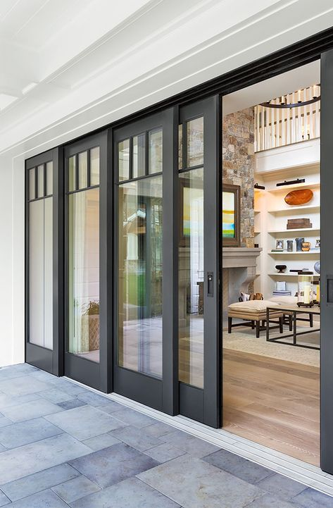 All About Exterior French Doors Sliding Patio Doors Patio inside Sliding Exterior Doors - Home Design Ideas This Old House, Interior Barn Doors, Home Interior, Interior Sliding French Doors, Modern Interior, Sliding Door Design, Design Exterior, French Doors Patio, Modern Patio Doors
