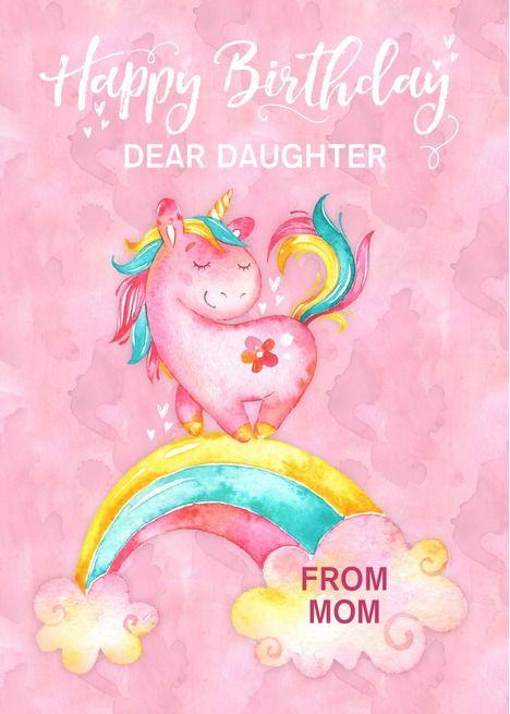 Custom Unicorn On Rainbow Watercolor Effect Birthday For Daughter
