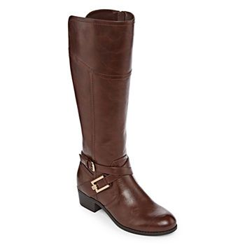 Wide Calf Riding Boots Stacked Heel