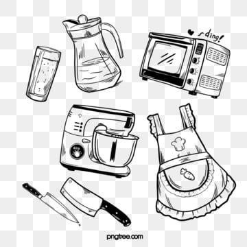 Kitchenware Kitchen Supplies Oven Apron Black And White Line Draft Black And White Kitchen Utensils Oven Png Transparent Clipart Image And Psd File For Free Kitchen Supplies Black And White