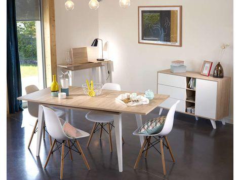 Table Avec Allonge Prism Coloris Chene Naturel X2f Blanc Pas