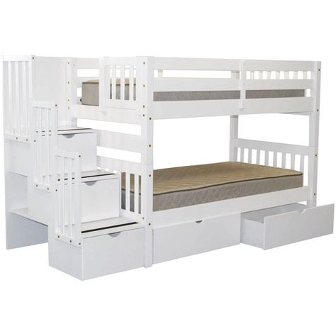 0a3518e6ad2a27 Bedz King Stairway Bunk Bed Twin over Twin with 3 Drawers in the Steps and 2  Under Bed Drawers, White