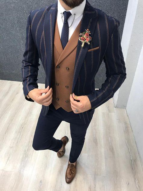 Elle Brown Slim Fit Striped Suit