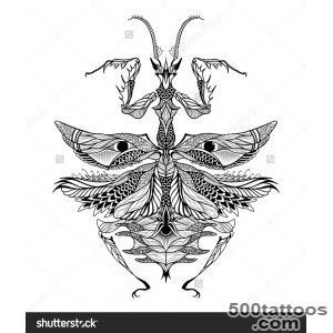 Mantis Tattoo Psychedelic Zentangle Style Vector Illustration 11 Mantis Tattoo Beetle Tattoo Bee Art