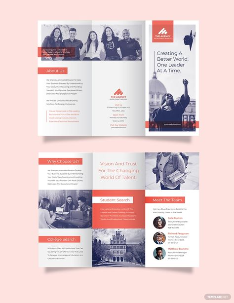 Here are the most ideal recruitment brochure designs that will help you acquire only skillful workers, and reasons why brochure distribution is still a thing. Graphic Design Brochure, Corporate Brochure Design, Brochure Layout, Tri Fold Brochure Design, Creative Brochure, Brochure Sample, Brochure Template, Brochure Design Samples, College Brochure