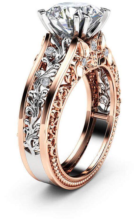 Etsy Unique 2 Carat Moissanite Engagement Ring 14K Two Tone Art Deco Gold Ring Vintage Moissanite Engage
