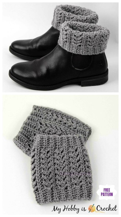 boot cuffs Looking for some crochet house slippers for your family, you will love to check out Crochet Women Slippers Shoe Patterns Round Up. Boots are a must-have for most of every women, Crochet Boot Socks, Crochet Boot Cuff Pattern, Crochet Leg Warmers, Knit Boots, Shoe Pattern, Crochet Patterns, Hat Patterns, Knitted Boot Cuffs, Quick Crochet