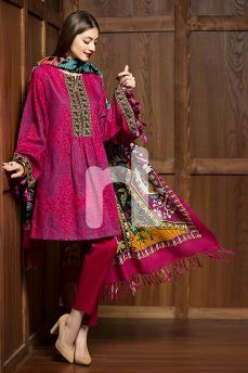 Embroidered Unstitched 3 Piece Karandi Pakistani Dress On A Discount Price For Shopping Online By Nishat Linen Winter Collection