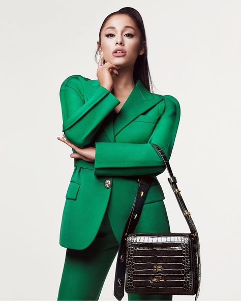 Ariana Grande dons green power suit for new Givenchy campaign - Hitting stores later this month! Givenchy teased the first 15 images of their new brand am… - Ariana Grande Images, Ariana Grande Outfits, Ariana Grande Fotos, Ariana Grande Vestidos, Ariana Grande Style, Ariana Grande Today, Ariana Grande Photoshoot, Givenchy, Balenciaga
