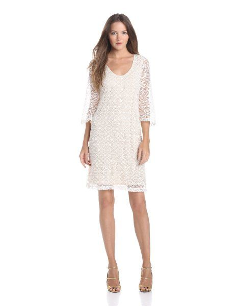 1d1d33cfb22 Tiana B Women s V-Neck Lace Dress With Bell Sleeve
