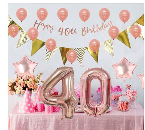 Rose Gold Happy 40th Birthday Decorations Party 40 Year Old Supplies Wedding
