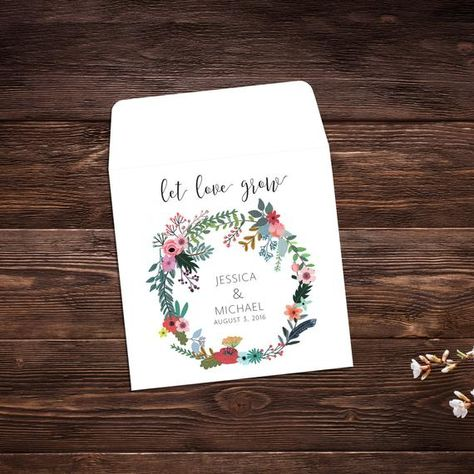 Wedding Seed Packets, Seed Favor, Let Love Grow, #seedpackets #seedfavors #weddingfavors #weddingseedfavor #weddingseedpackets #bohowedding #letlovegrow #seedpacket #seedfavor #bridalshower #seedpacketfavor #customseedpackets #flowerseedpackets
