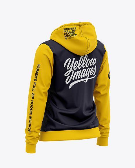Download Women S Full Zip Hoodie Back Half Side View Of Hooded Sweatshirt In Apparel Mockups On Yellow Images Object Mockups Hoodie Mockup Clothing Mockup Full Zip Hoodie