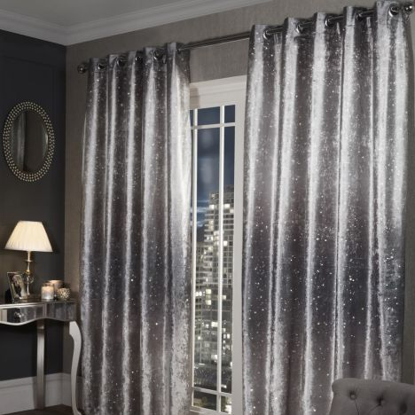Glitter Crushed Velvet Ring Top Curtains Silver Grey Rose Gold Room Decor Curtains Living Room Living Room Grey