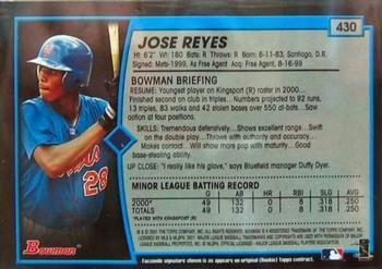 2001 BOWMAN JOSE REYES ROOKIE NEW YORK METS