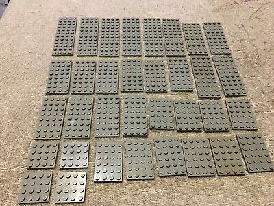ASSORTMENTS OF 34 LEGO OLD VINTAGE LIGHT GRAY PLATES 4X4 4X6 4X8 4X10 4X12