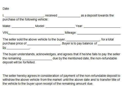 deposit form for car  car deposit form 14. | Templates | Words, Templates, Car