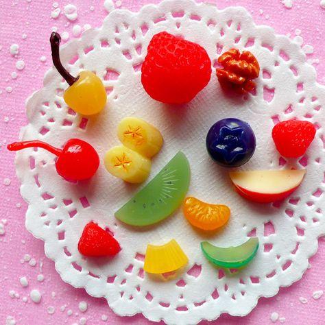 Fruit Cabochon Mix (13pcs) Kawaii Strawberry Kiwi Apple Orange Cherry Banana Blueberry Miniature Sweets Decoden Cell Phone Deco. $4.95, via Etsy.