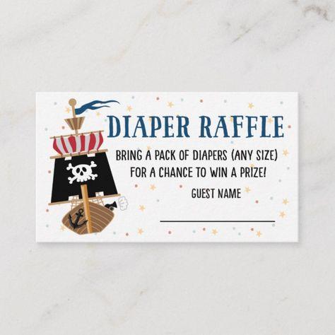 Baby Shower Cute Pirate Diaper Raffle Card