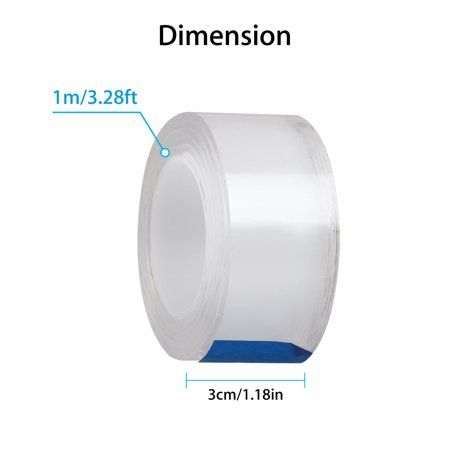 Tsv Reusable Traceless Tape Transparent Double Sided Gel Mat Adhesive Tape Multifunction Nano Movable Washable Tape For P Adhesive Tape Carpet Mat Transparent