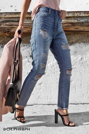 501 Skinny Distressed Light Wash Jeans | High waisted