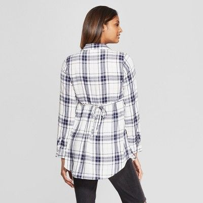 a82200ed138ff Maternity Plaid Flannel Peplum Hem Shirt - Isabel Maternity by Ingrid &  Isabel White Xxl