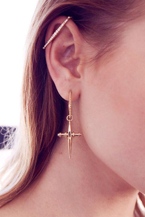 The Cross Hoops- Gold | Luv Aj
