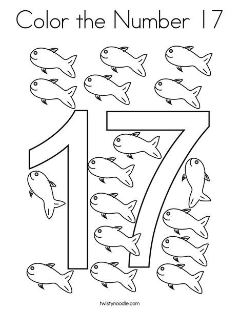 Color The Number 17 Coloring Page Twisty Noodle Numbers Preschool Kindergarten Math Counting Coloring Pages